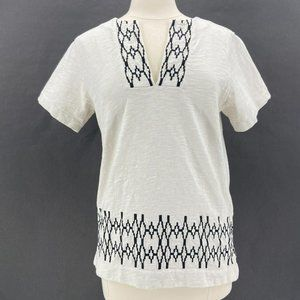 Madewell Off-White Black Western V-Neck Knit Top M